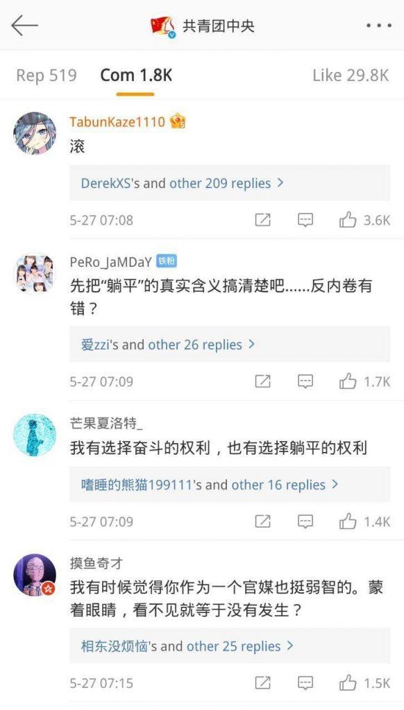 共青團中央微博發文反對躺平主義,評論區卻能看出群眾的激烈反應。 //圖片來源:公共領域